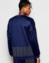 Men Adidas Originals Budo Crew Sweatshirt Blue Sweatshirt 343_1_LRG