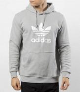 adidas trefoil hoodie grey